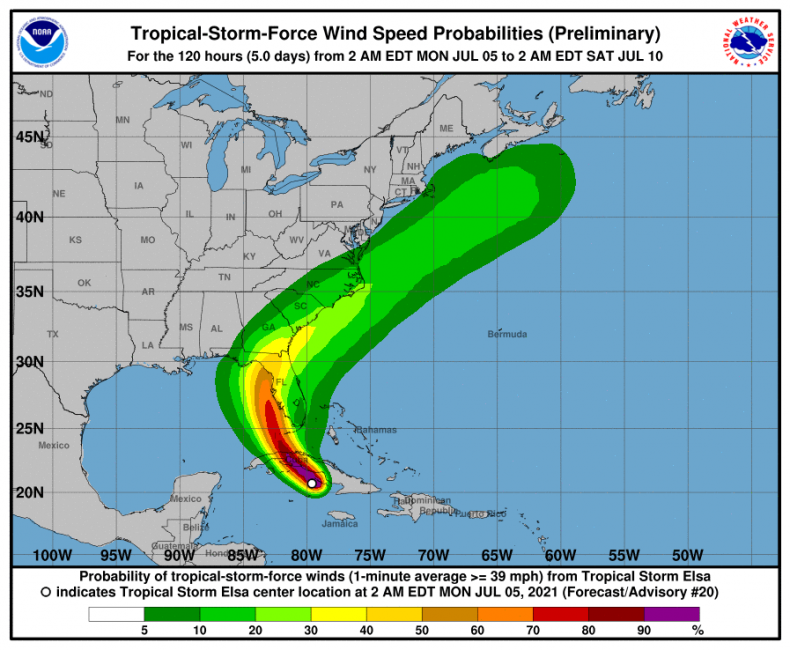 Tropical Storm Elsa surface wind speeds