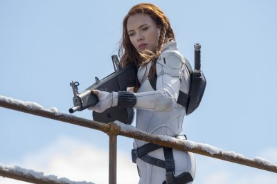 Scarlett Johansson as Black Widow in white