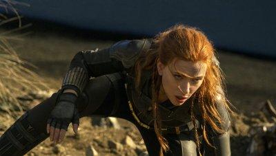Scarlett Johansson as Black Widow in black