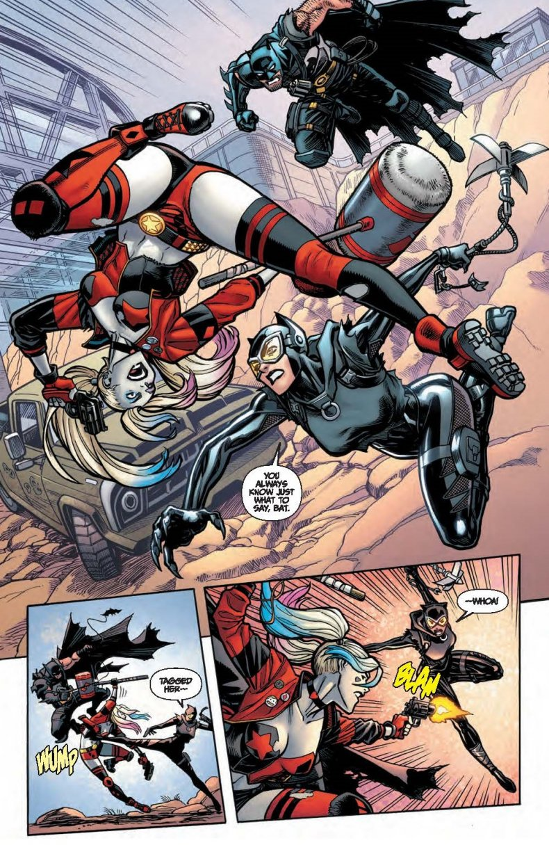 Batman and Catwoman Fight Harley Quinn