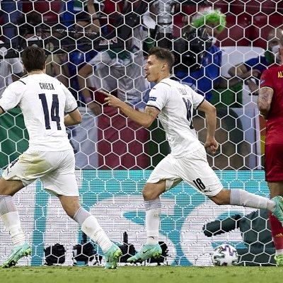 Italys Nicolo Barella scores against Belgium