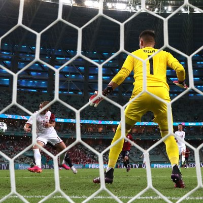 Kasper Dolberg scores against Czech Republic