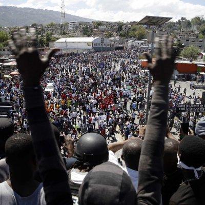 Protesters pictured in Port-au-Prince, Haiti.