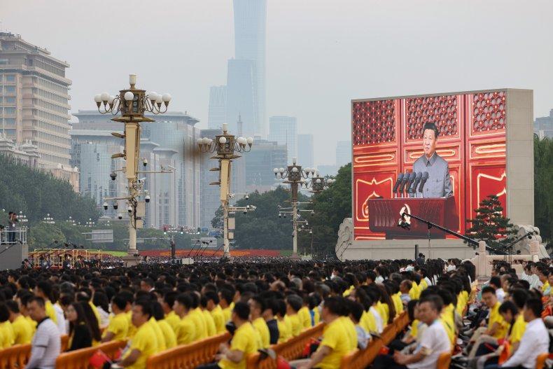 Chinese President Xi Jinping Addresses Anniversary Crowd