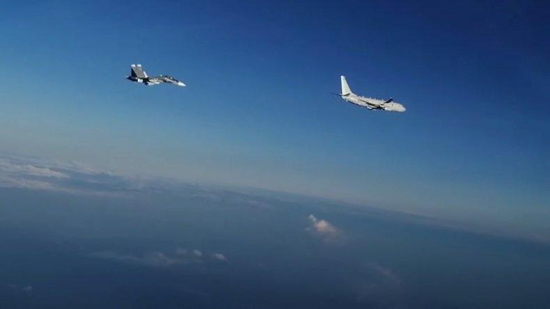 Russia, fighters, escort, US, spy, plane