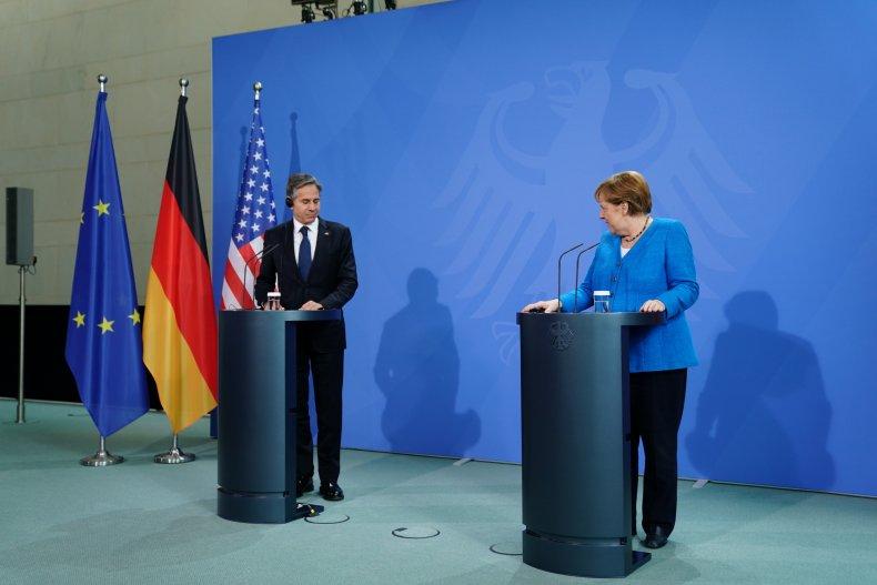 Antony Blinken and Angela Merkel