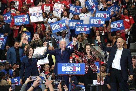 Whitmer, with Biden, Harris