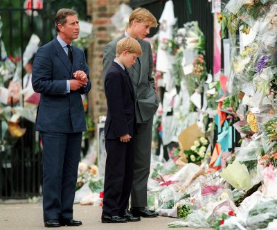 Prince Harry Inspects Diana Floral Tributes