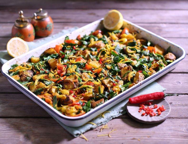 Oven-Baked Saag Aloo with Wild Garlic