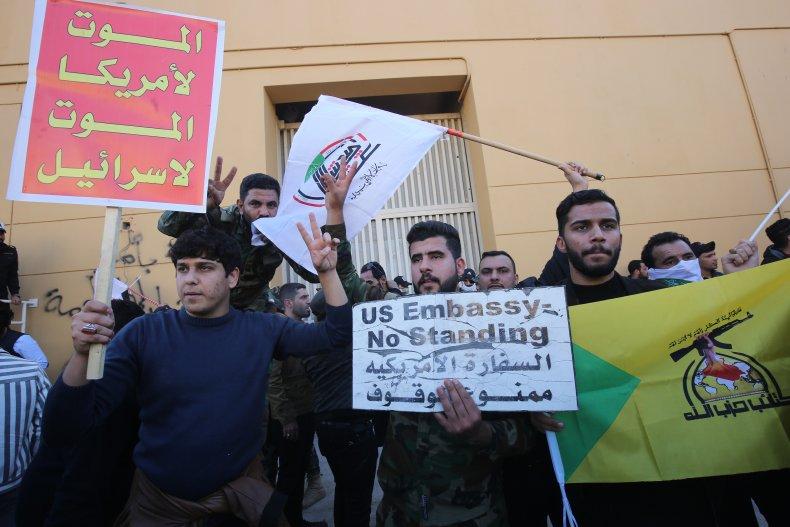 US, embassy, protest, Baghdad, Iraq