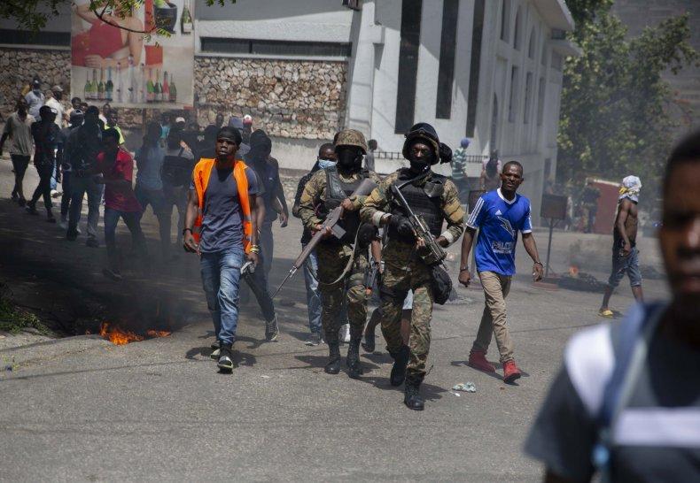 Protestors in Haiti