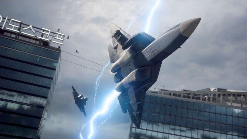 A Plane Avoids a Lightning Bolt