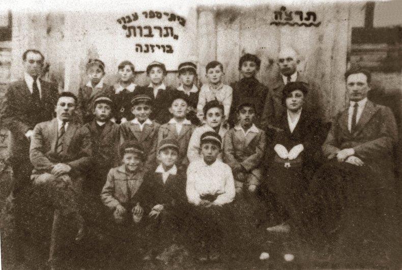 Jewish school children pose for a portrait