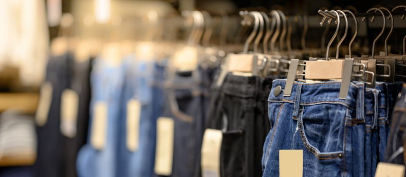 Jeans hanging in clothing store