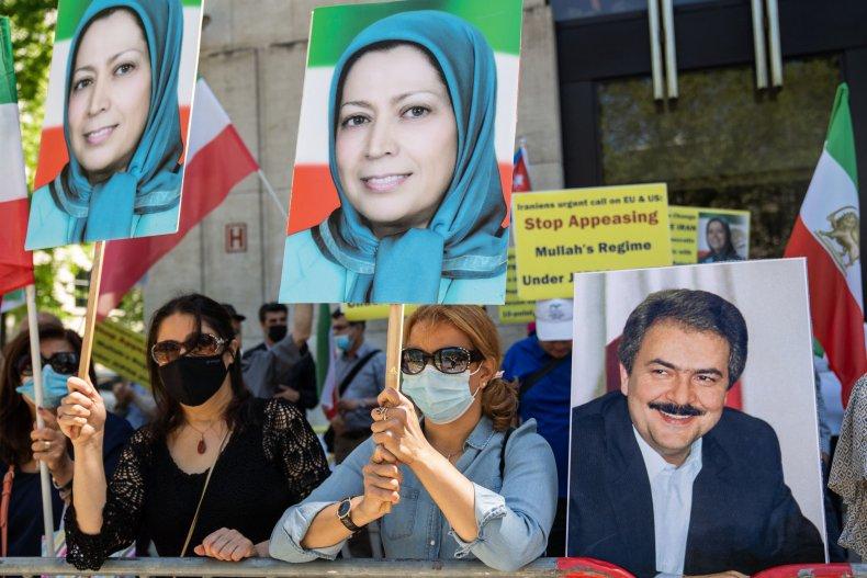 Pro-Rajavi MEK protests in Brussels, Belgium