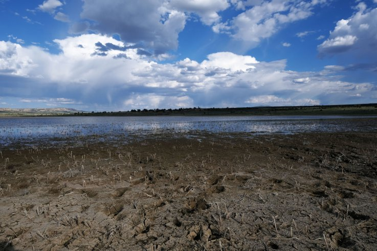 Dried out lake in Navajo Nation