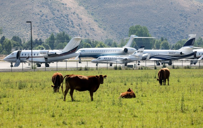 Private jets at airport near Sun Valley.