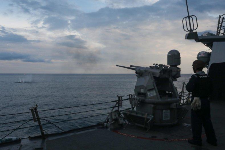 USS, Ross, fires, machine, gun, Black, Sea