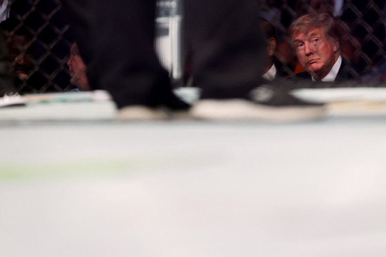 Donald Trump looks on during UFC 264.