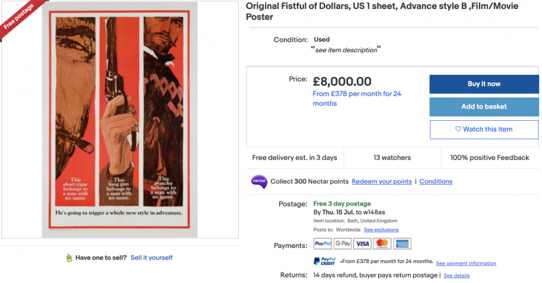 Fistful of Dollars Movie Poster ($10,000)