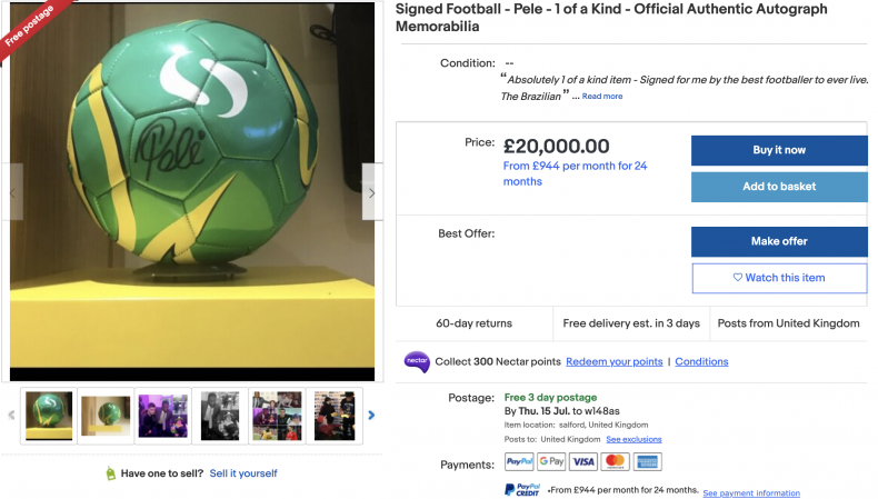 Football Signed by Pele ($27,000)