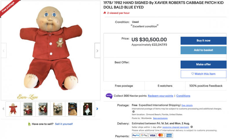 Vintage Cabbage Patch Kid Doll ($30,000)