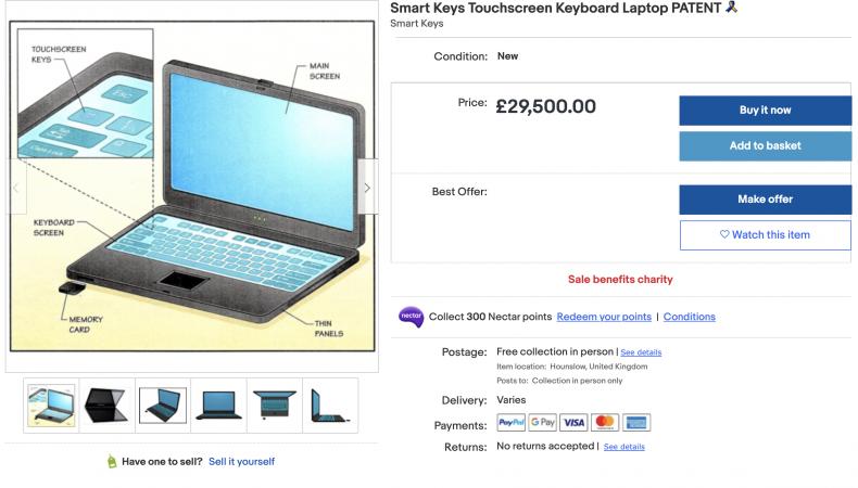 Smart Keys Touchscreen Keyboard Laptop Patent ($40,000)