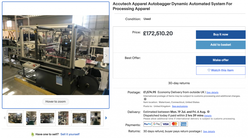 Accutech Apparel Autobagger Dynamic Automated System ($125,000)