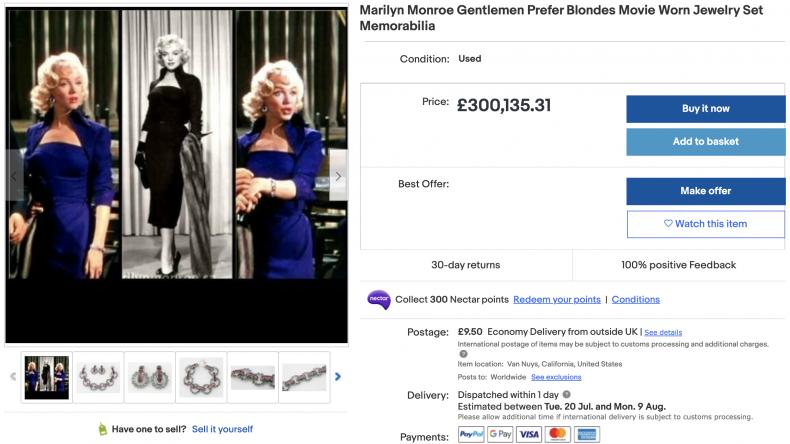 Marilyn Monroe Gentlemen Prefer Blondes Movie Worn