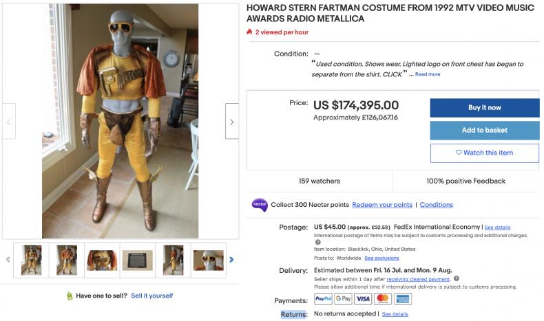 Howard Stern Fartman Costume ($175,000)