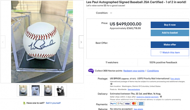 Les Paul Signed Baseball JSA Certified ($499,000)