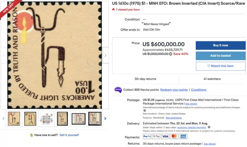 $1 U.S. 1975 Postage Stamp ($600,000)