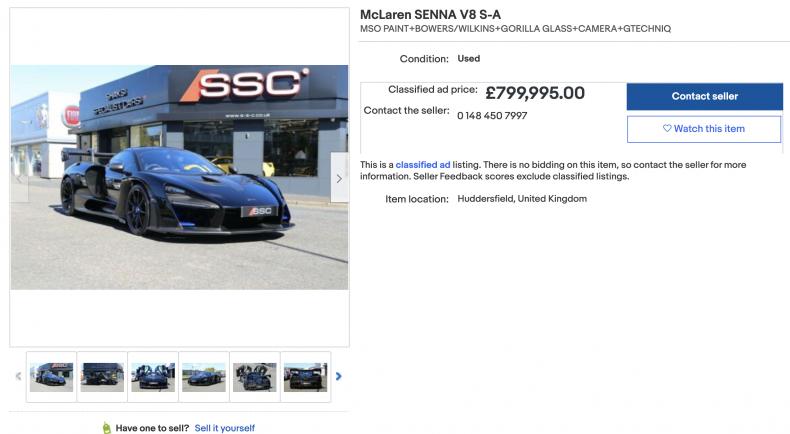 McLaren Senna V8 S-A ($1,100,000)