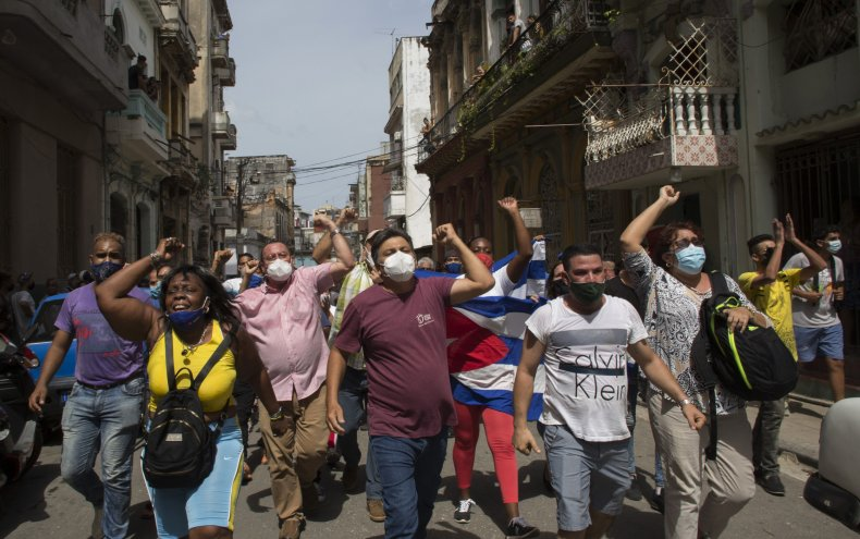 Government Supporters Against Cuban Protesters