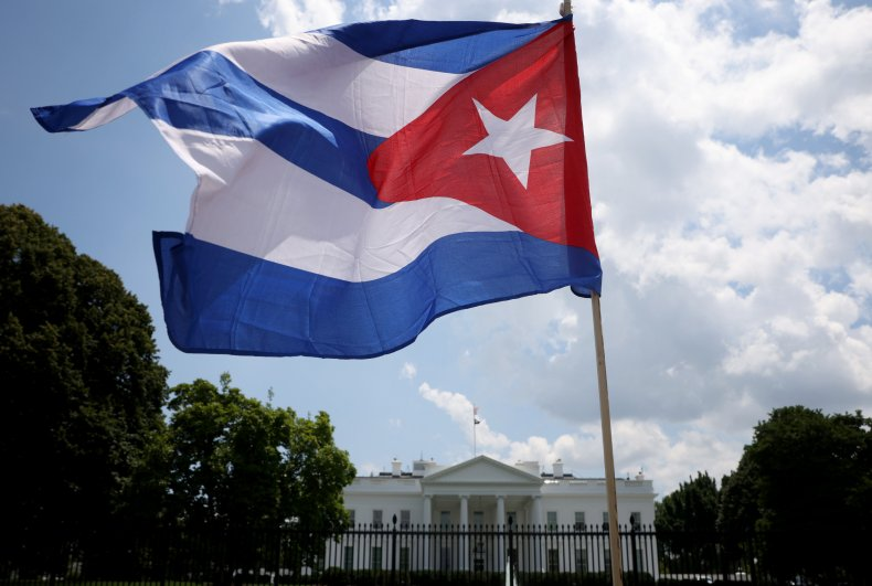 Cuba, flag, at, White, House, protest