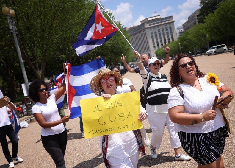 Cuban Americans demonstrate near White House