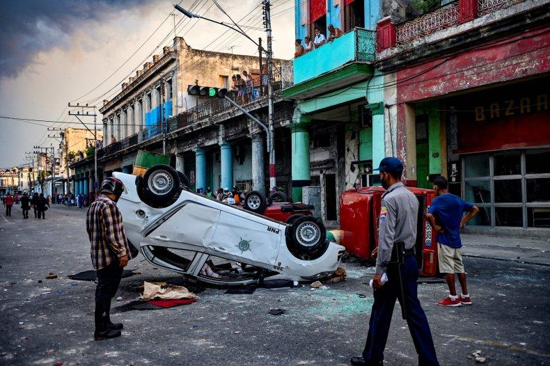 Cuban, protest, overturn, police, car, Havana