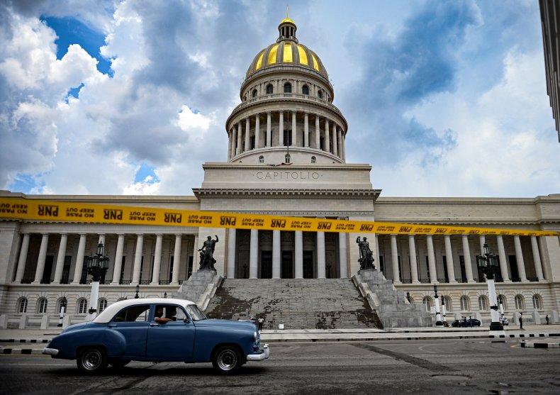 Cuba, Havana, Capitol, building, protests