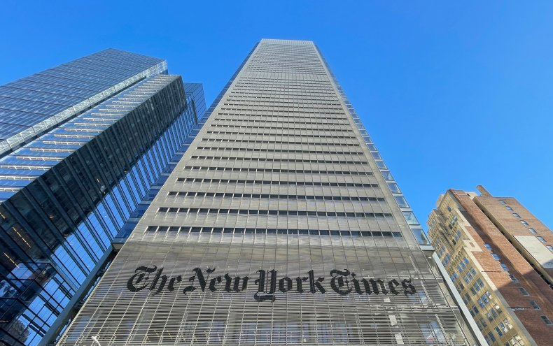 The New York Times Building is seen