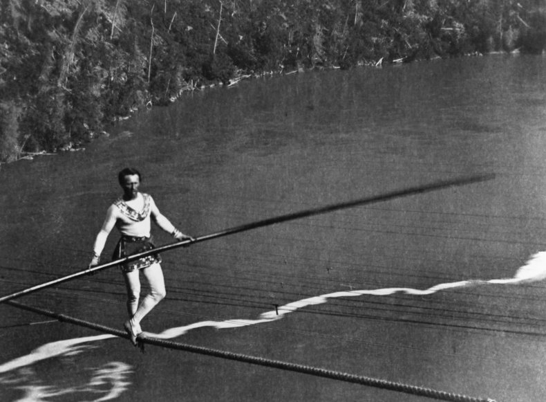 Charles Blondin on tightrope