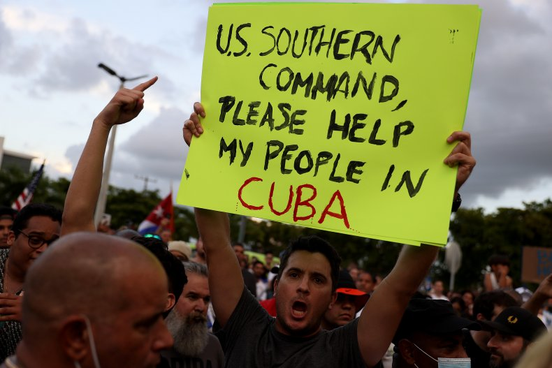 People support Cuba protests in Florida
