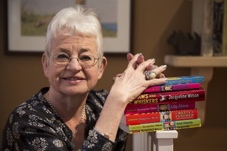 Jacqueline Wilson with her books