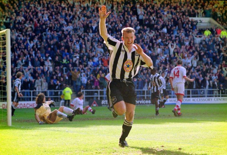 Alan Shearer playing for Newcastle