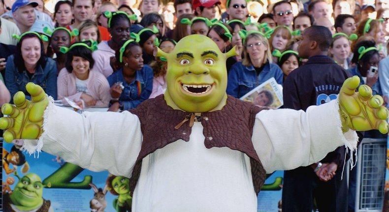 Shrek in costume at premiere