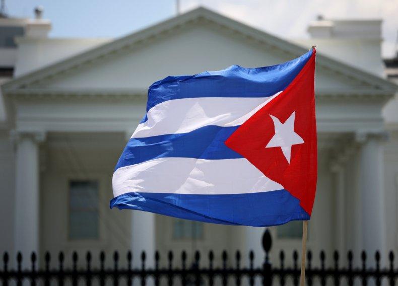 Cuba flag protest at Biden White House