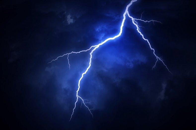 Lightning bolt in sky