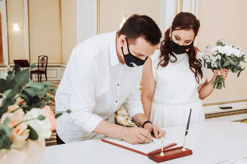 File photo of couple at their wedding
