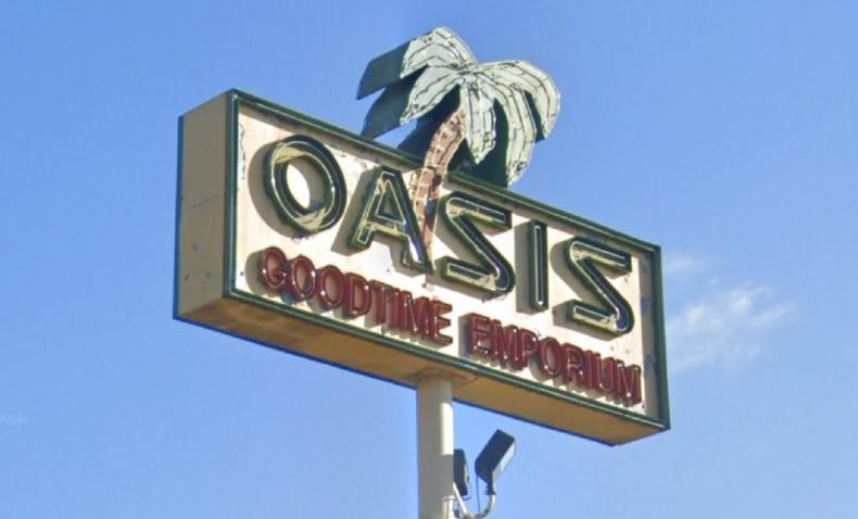 Sign outside Oasis Goodtime Emporium in Doraville.