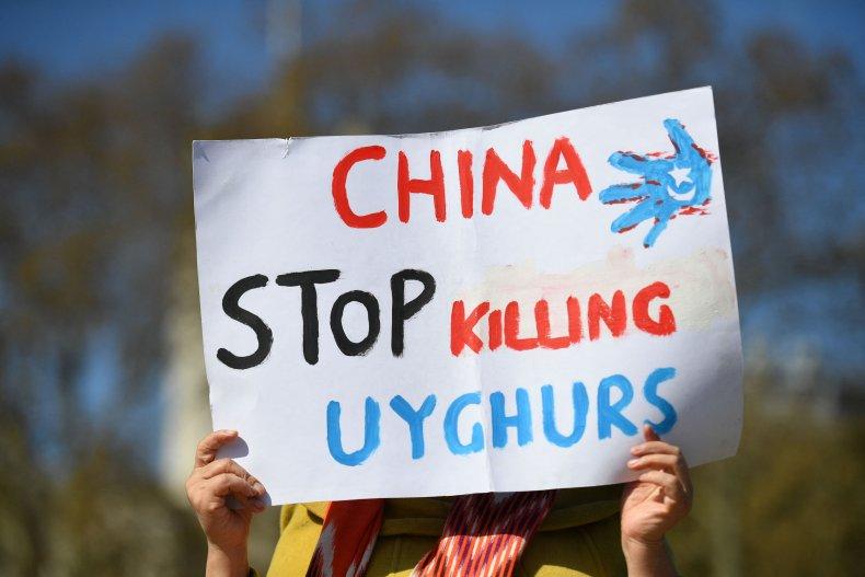 Demonstrators Protest China Policies Against Uyghurs