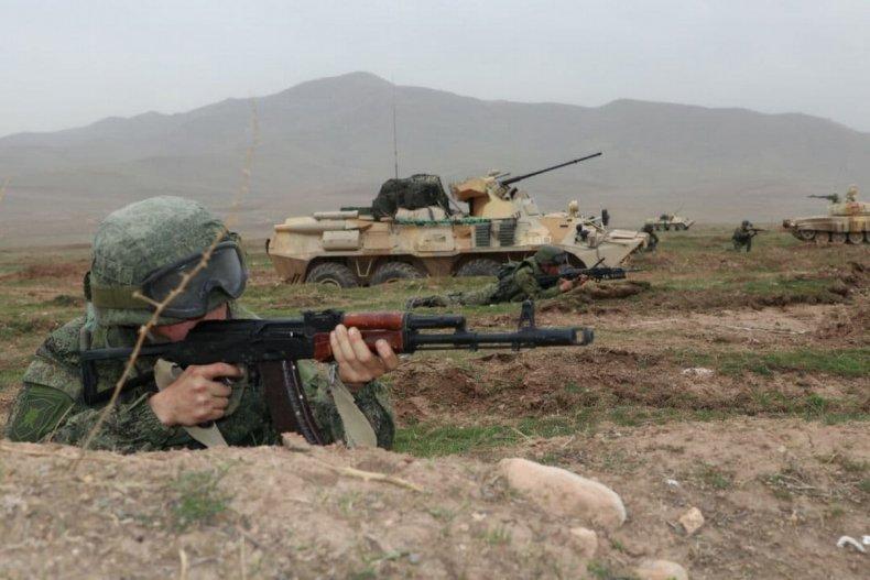 Russia, troops, train, in, Tajikistan